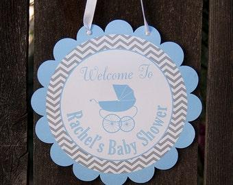 Carriage Baby Shower Door Hanger - Baby Boy Shower Decorations - Blue & Grey - DIY Printable PDF File