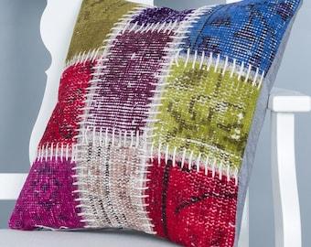 Turkish Pillow 18''x18'' Rug Pillow Cover Turkish Rug Pillow Cases Patchwork Pillow Oriental Pillowcases Modern Pillows Decorative Pillows