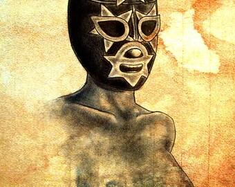 "Print 8x10"" - Lucha - Libre Wrestling Mexico Fighting Boobs Tits Mask Lowbrow Vintage Fetish Dark Art Pop Art Luchador"