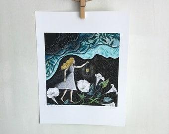 Nursery art, moon flowers, in search of the moon, floral art, baby shower gift, shellieartist, Lantern light, 8.5 x 11 Archival Print