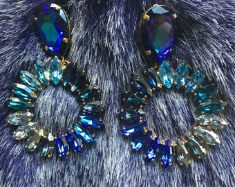 Blue Crystal Chandelier Clip-On Earrings by Frangos