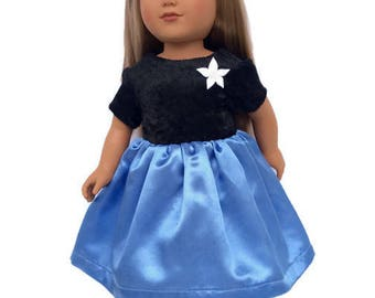 18 Inch Doll Dress, Blue and Black Party Dress, 18 Inch Doll Clothes, Girl Doll Clothes