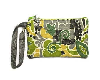 Smartphone Wristlet, Phone Wallet, iPhone 6 Purse, Samsung Galaxy Note, Womens Wallet, Cell Phone Bag, Green, Gray, Canvas, Text and Tote®