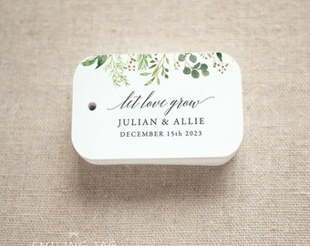 Greenery Let Love Grow Wedding Favor Tags - Personalized Gift Tags - Wedding Favor Tags - Bridal Shower Tags - Set of 20 (Item code: J746)