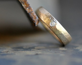 solid 14k gold wedding band with flush set VS diamond, unisex ring band, engagement ring, hand forged gold ring