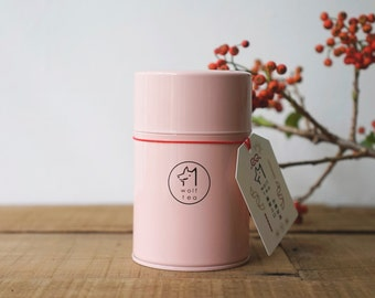 Pink Wolf Tea Canister / Tea Tin / Caddy - Honey Scented Black Tea / Pale Pinkish Gray
