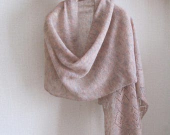 Woman lacy scarf Mohair wrap Mohair shawl Knitted tipped Knit wrap Knitted scarf Knitted lacy shawl Lacy tippet Birthday gift shawl