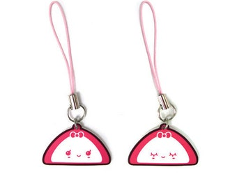 Korean Odang Girl Phone Charm, Fish cake strap, Kawaii Japanese Kamaboko Oden Art, Cute Food Jewelry, Asian Udon Noodles Soup, 3DS Accessory