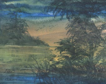 8x10 inch original watercolour painting landscape by Susan Alison sunset sunrise light shines through reflections River Wye evening