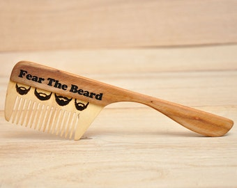 Personalized Wooden Beard Comb, Gift for dad, Gift for him, Wooden hair comb, Beard comb, Moustache comb, For men, Fear the beard.
