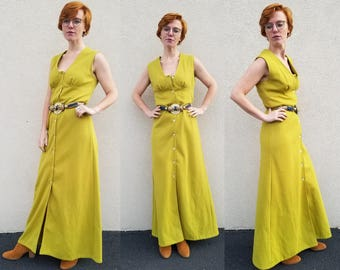 MOD 70s Maxi Dress MINIMALIST Button Through Sleeveless Empire Waist Sundress / small vintage 70's CHARTREUSE Green Hippie Festival Dress