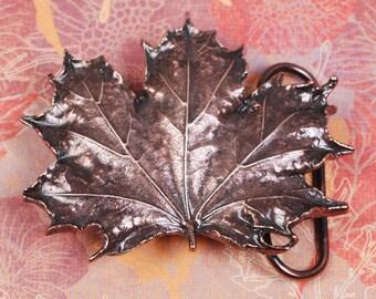 Maple Leaf Belt Buckle - Maple Leaf Buckle - Leaf Buckle - Copper
