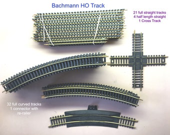 Bachmann HO Train Track - 59 pieces both Straight/Curved & Add Ons