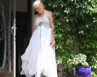 upcycled dress S - M upcycled clothing, upcycled fashion, romantic boho dress . sea talk