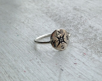 Tiny Sterling Silver Compass Stacking  Ring - custom made to order