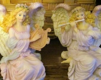 Angels shelf sitters playing harp and flute made of polyresin, pair