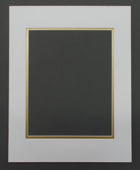 22x28 White Gold Double Picture Mat with White Core Bevel