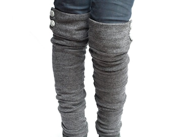 Charcoal knit military leg warmers