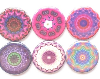 Mandala Magnets, Talavera Magnets, Refrigerator Magnets, Fridge Magnets, Decorative Mandalas Magnets, Pinks Purples Mandalas Magnets, 6/Set