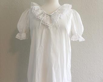 vintage peasant sleeve white cotton blouse