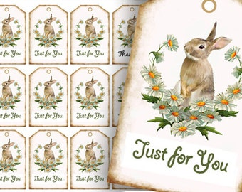 Bunny Tags, Favor Tags, Rabbit Just For You Tags, Easter Gift Tags, Printable Tags, Brown bunny digital Download, craft supplies, new baby