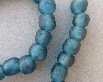 Mali Blue Ghana Glass Beads (10-11x9-10mm) [66445]