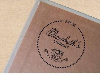 Custom Book Stamp, Vintage Bookplate, Personalized Book Stamp, Ex Libris Stamp, Wooden Handled Elizabeth
