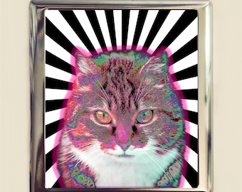 Trippy Cat Cigarette Case Business Card ID Holder Wallet Psychedelic Festival Accessory Cats Pop Art