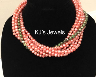 Pink Freshwater Pearl Necklace with Green Accent Strand
