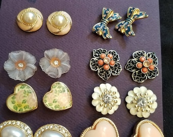 8 pair of beautiful vintage stud earrings