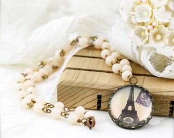 Eiffel tower pendant necklace - glass pendant