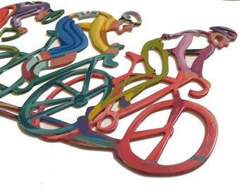 The bikers Wall Sculpture, Bicycles Wall Sculpture, Metal wall art, Wall Sculpture, Wall hanging, Metal Art, Wall art, Hanging Sculpture
