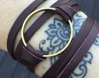 Double Wrap Leather Bracelet or Choker -Brass Circle