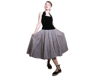 1950s Black and White Checked Cotton Skirt XS