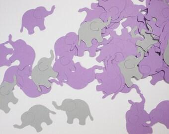 "Elephant Confetti Party Decoration, Girl Birthday Party Decor, Baby Shower, Lavender Purple & Gray Elephant Cutouts, 1.5"",  100 Ct."