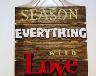 Season Everything with Love Wood Wall Decor
