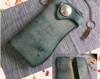 Handmade Brushed waxed leather Biker Wallet fine Italian ICE JEANS brushed waxed  vegetable tanned leather wallet zipper wallet chain wallet