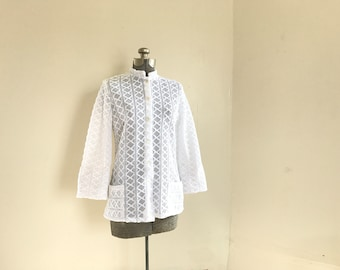 Vintage 1960s Teddi of California Lace Crochet - Like White Summer Shirt Jacket with Flare Sleeves Boho Bohemian Style
