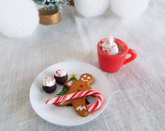 Miniature COOKIES for Santa on Plate with Gingerbread Man, Candy Cane, Cocoa - 1:6 Scale Polymer Clay Food for Fashion Dolls and Figures