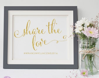 Social Media Sign | Wedding Hashtag | Gold Glitter Handwritten | Wedding Signage