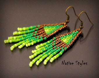 "2.5""Small Boho Seed Bead Earrings~Native American Style~Bright Green Bronze Glass Beaded~Native Indian Style~Small Bohemian Fringe Earrings"