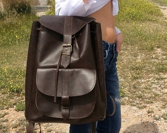 Unisex Leather Backpack, Dark Brown Backpack, Handmade Backpack , Mens Backpack, Womens Backpack, Leather Bag