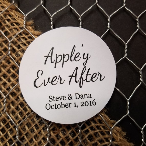 "Appley Ever After 2"" STICKER Personalized Wedding Engagement Shower Favor STICKER"