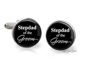 Stepdad of the Groom Cuff Links - Stepfather Wedding Cuff Links - Dad Cuff Links - Gifts for Step Dad Stepfather - Wedding Keepsake Gift