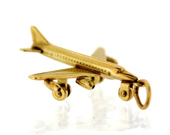 Vintage Gold Charm - 14ct Gold Aeroplane Charm - Vintage 14ct Gold Charm