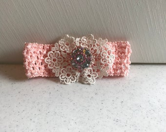 Light Coral Baby Headband with lace and Rhinestone Button