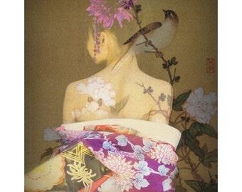 Geisha goddess, digital print, photomontage, Japanese print, fine art, Japanese geisha, home decor, modern art, geisha tattoo, wall art