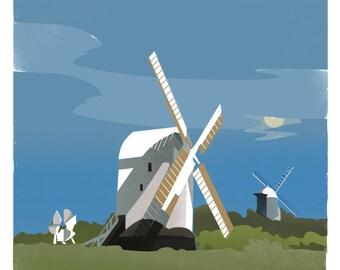 Jack and Jill Windmills (Clayton) retro print (a3)