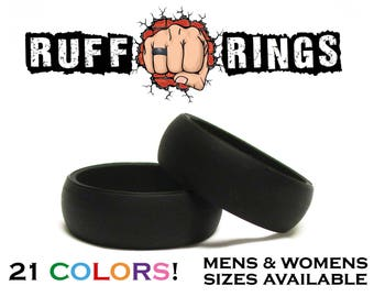 BLACK Mens Silicone Wedding Ring Band / Custom Personalized Engraved Silicone Rings For Men Husband Father Military Crossfit Gym Work Ring