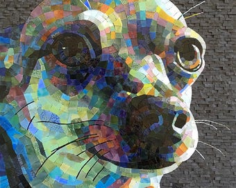 Colorful Custom Stained Glass Mosaic Pet Portrait